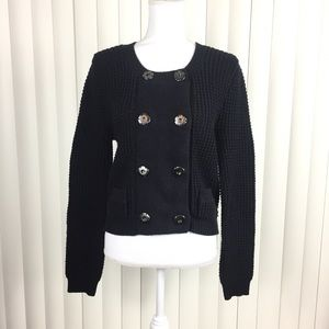 Anthro One Girl Who Black Snap Sweater